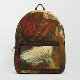 Border Collie Dog Sleeping Impressionist Colourful Oil Painting Red Green and Orange Backpack