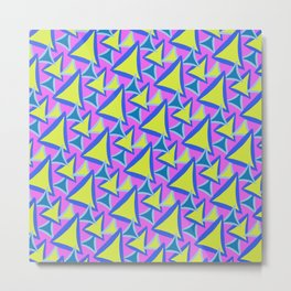 Neon Drawn Triangle Metal Print