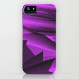 Strange gentle landscap with stylised mountains, sea and violet Sun. iPhone Case