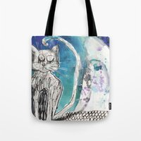 kittens Tote Bags featuring kittens by Agata Kowalska