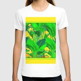 YELLOW GREEN & GOLD TROPICAL  GREEN FOLIAGE ART T-shirt