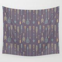 arrows Wall Tapestries featuring Arrows by Ceren Aksu Dikenci