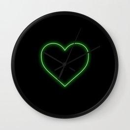 Neon Green Valentines Love Heart Wall Clock