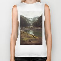 a clockwork orange Biker Tanks featuring Foggy Forest Creek by Kevin Russ