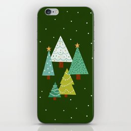 Holly Jolly Christmas Trees - Green iPhone Skin