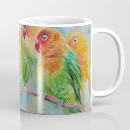 LOVE BIRDS Wildlife Tropical Parrots painting Pastel colors decor for bird lover Coffee Mug