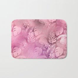 Iridescent Tropical Leaves in Pink and Pastels Bath Mat