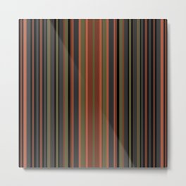 Multi-colored striped pattern in green , black and brown tones . Metal Print