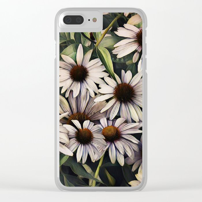 Cone Flowers Clear iPhone Case