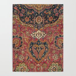 Persian Medallion Rug VII // 16th Century Distressed Red Green Blue Flowery Colorful Ornate Pattern Poster
