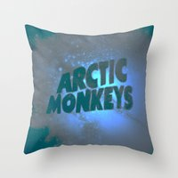 arctic monkeys Throw Pillows featuring Arctic Monkeys by SLIDE