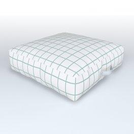 Minimalist Window Pane Grid, Sea Foam on White Outdoor Floor Cushion