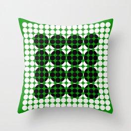Hidden Circles - Green And Black Geometric Design Throw Pillow