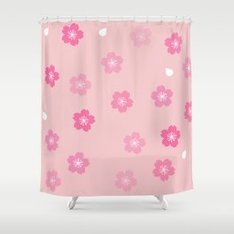 Cheery Cherry Blossom Print Shower Curtain