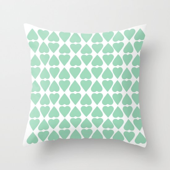Diamond Hearts Repeat Mint Throw Pillow