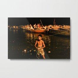 Kid in the water Metal Print