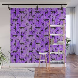 Animal kingdom. Black silhouettes of wild animals. African giraffes, leopards, cheetahs. snakes, exotic tropical birds. Tribal primitive ethnic nature purple grunge distressed pattern. Wall Mural