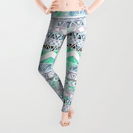 Teal Girly Floral White Abstract Aztec Pattern Leggings
