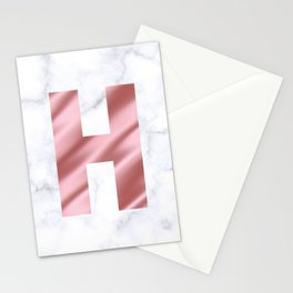 Pink Silk on Marble Initial Monogram Letter H Stationery Cards