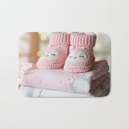 It's a Girl! / Baby Booties & Clothes Bath Mat