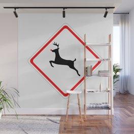 Christmas Reindeer Street Sign Wall Mural