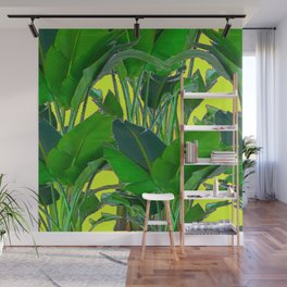 DECORATIVE TROPICAL GREEN FOLIAGE & CHARTREUSE ART Wall Mural