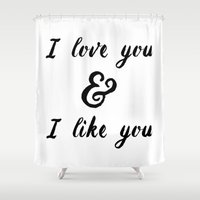parks Shower Curtains featuring I Love You and I Like You- Ben & Leslie, Parks and Rec by Genuine Design Co.