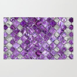Quatrefoil Moroccan Pattern Amethyst and silver Rug