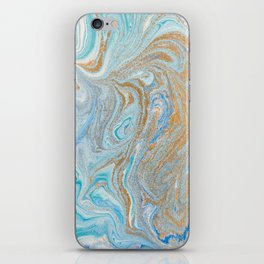 Marble turquoise gold silver iPhone Skin