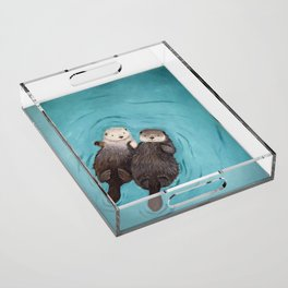Otterly Romantic - Otters Holding Hands Acrylic Tray