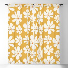 Floral Daisy Pattern - Golden Yellow Blackout Curtain