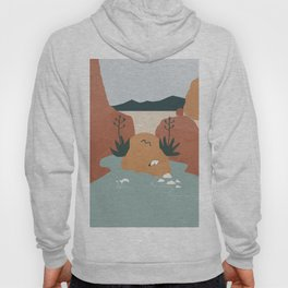 Girl with Agave Earings. Optical Illusion Landscape. Oasis in the Desert. Rotate 180 degrees Hoody