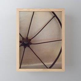 Rusty antique wagon wheel Framed Mini Art Print