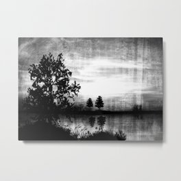 Abend am See - schwarz-weiß Metal Print