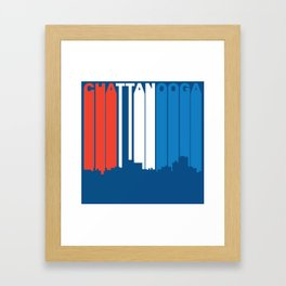 Red White And Blue Chattanooga Tennessee Skyline Framed Art Print