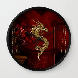 Wonderful golden chinese dragon Wall Clock