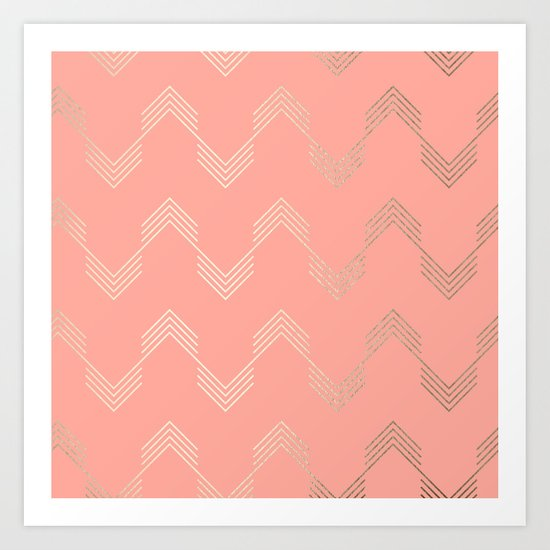 Simply Deconstructed Chevron White Gold Sands on Salmon Pink Art Print
