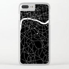 Black on White London Street Map II Clear iPhone Case