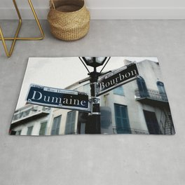 Dumaine and Bourbon - Street Sign in New Orleans French Quarter Rug