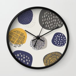 Abstract Circles in Mustard, Charcoal, and Navy Wall Clock