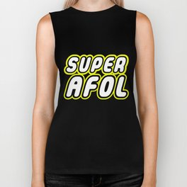 SUPER AFOL in Brick Font Logo Design by Chillee Wilson Biker Tank