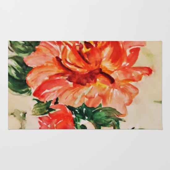 red rose japanese art Rug