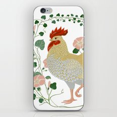 Rooster and morning glory iPhone & iPod Skin