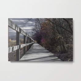 Extended wooden foot bridge through the forest Metal Print