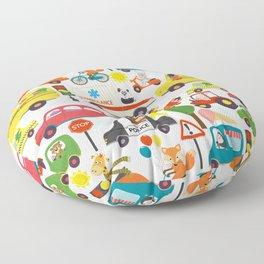Busy City Zoo Animal Transportation Pattern Floor Pillow