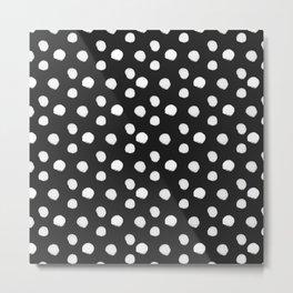 Brushy Dots Pattern - Dark grey Metal Print