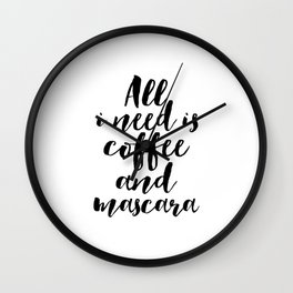 But First Coffee,Mascara Print,Wall Art,Gift For Her,Makeup Print,Girls Room Decor,Typography Print Wall Clock
