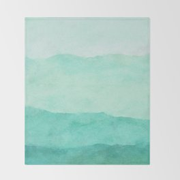 Ombre Waves in Teal Throw Blanket