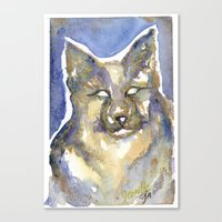 copper Canvas Prints featuring Copper by Bootsies Watercolor Kittys