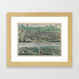 Vintage Map of Jerusalem, Nazareth and Rame Israel Framed Art Print